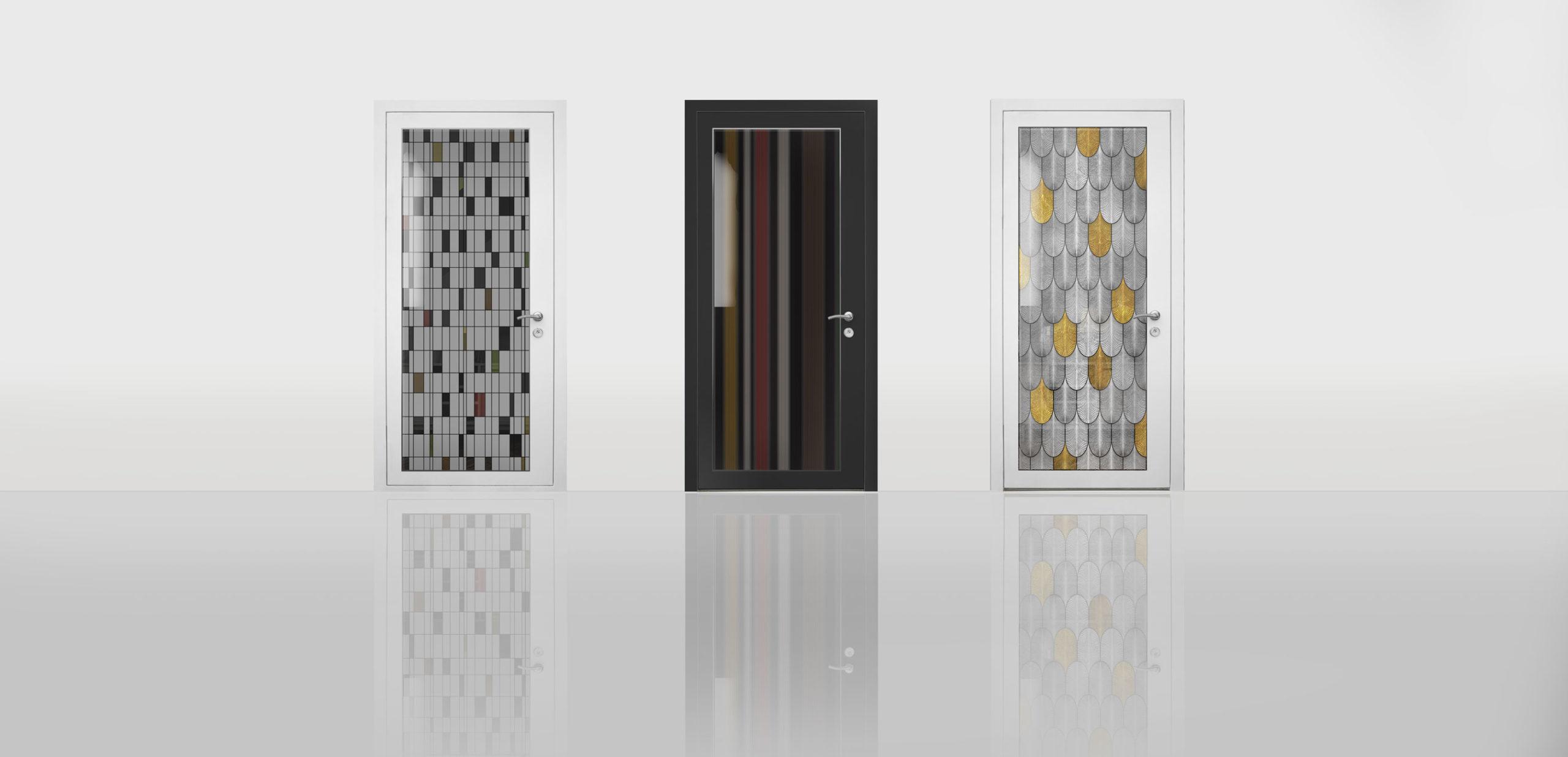 Plumes, Moire, Dames, Vitrage portes d'entrée Riou Glass design A&P Sorigué
